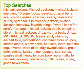 Oprah.com top searches 07 July 2009